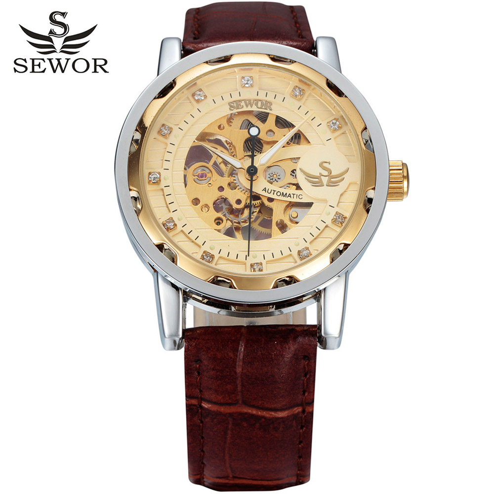 2016 new fashion sewor brand design sport luxury male clock man mechanical hand wind military business wrist skeleton watch(China (Mainland))