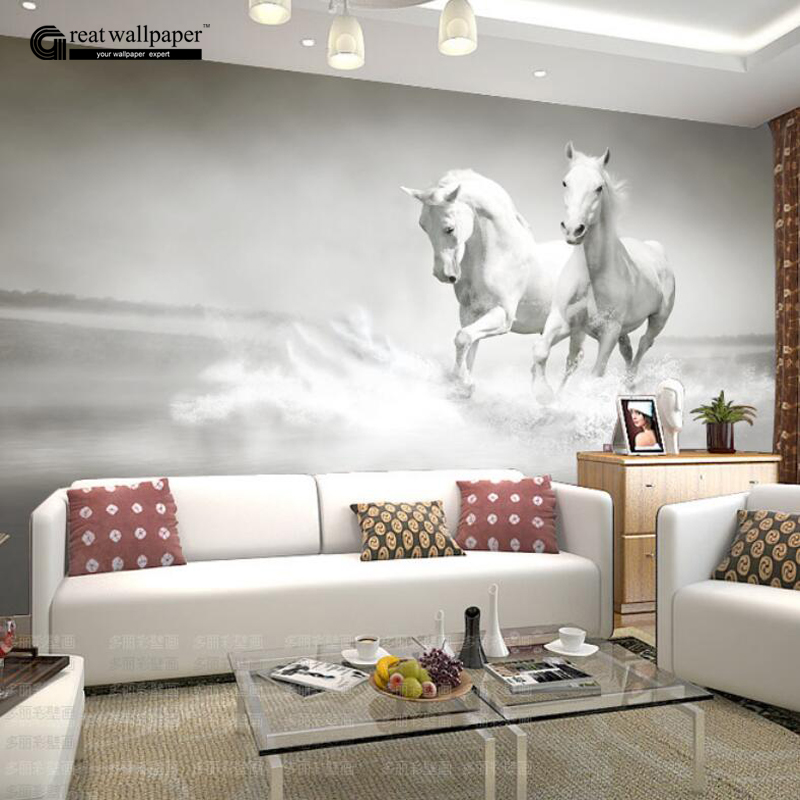 Custom any size 3d wall mural wallpaper white horse wall for Equestrian wall mural