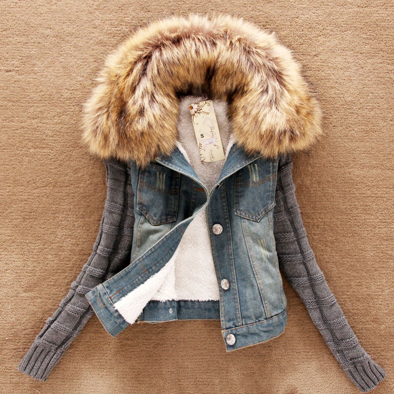4xl casaco feminino winter women fashion denim jacket Movable furs collar Wool coat Bomber Jacket jean women basic coats