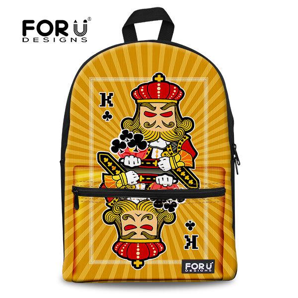 New Women Canvas Backpacks Men's Travel Laptop Bag,3D Playing Card Jack Queen King Kanken Backpack,Children School Shoulder Pack(China (Mainland))