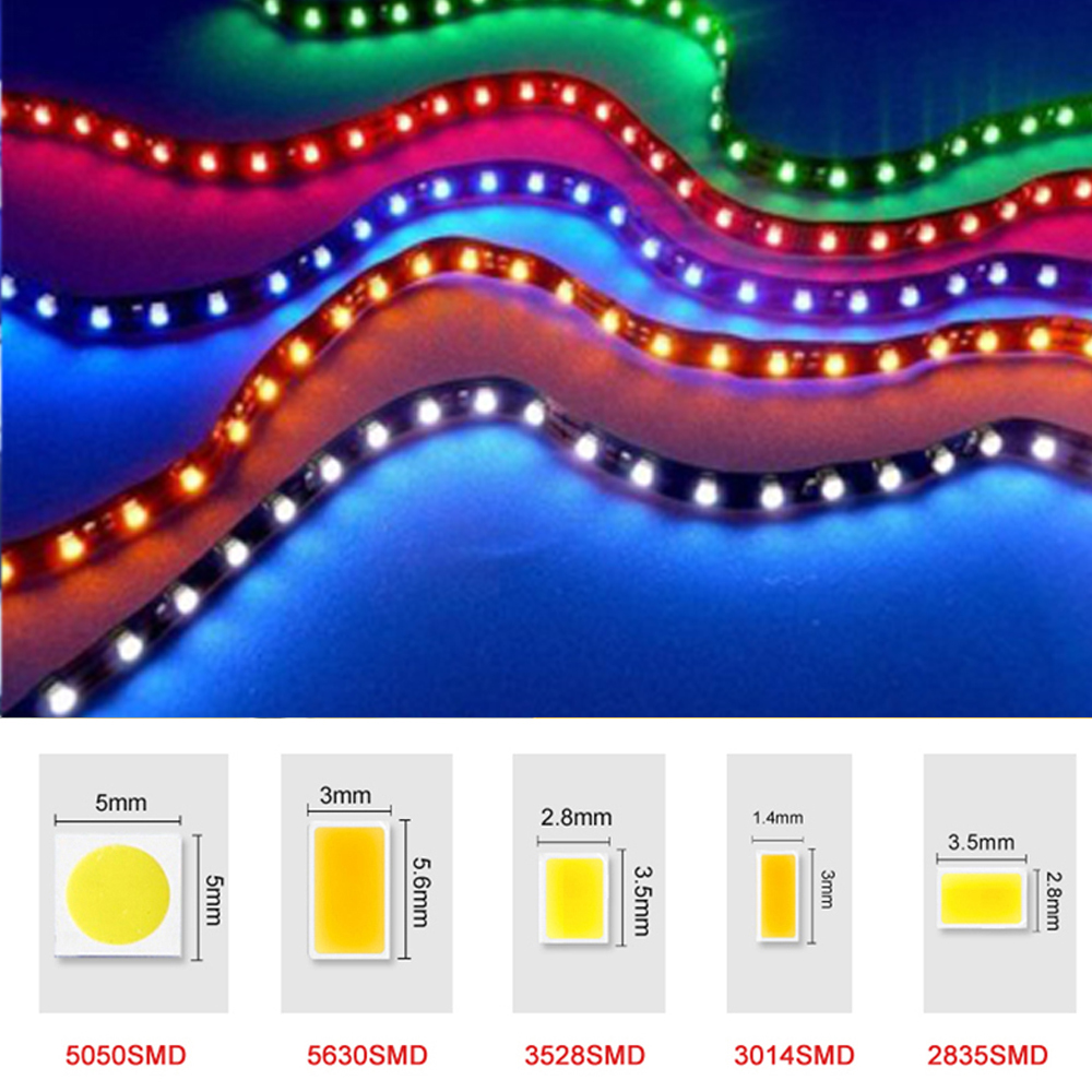 12V RGB LED flexible Strip Light SMD 5050 5630 3528 3014 2835 Fita string Ribbon tape Bar Neon 60leds/m non-waterproof Lampada(China (Mainland))
