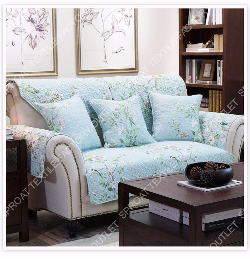 100 cotton blue green floral print quilted sofa cover for Canape sofa cover