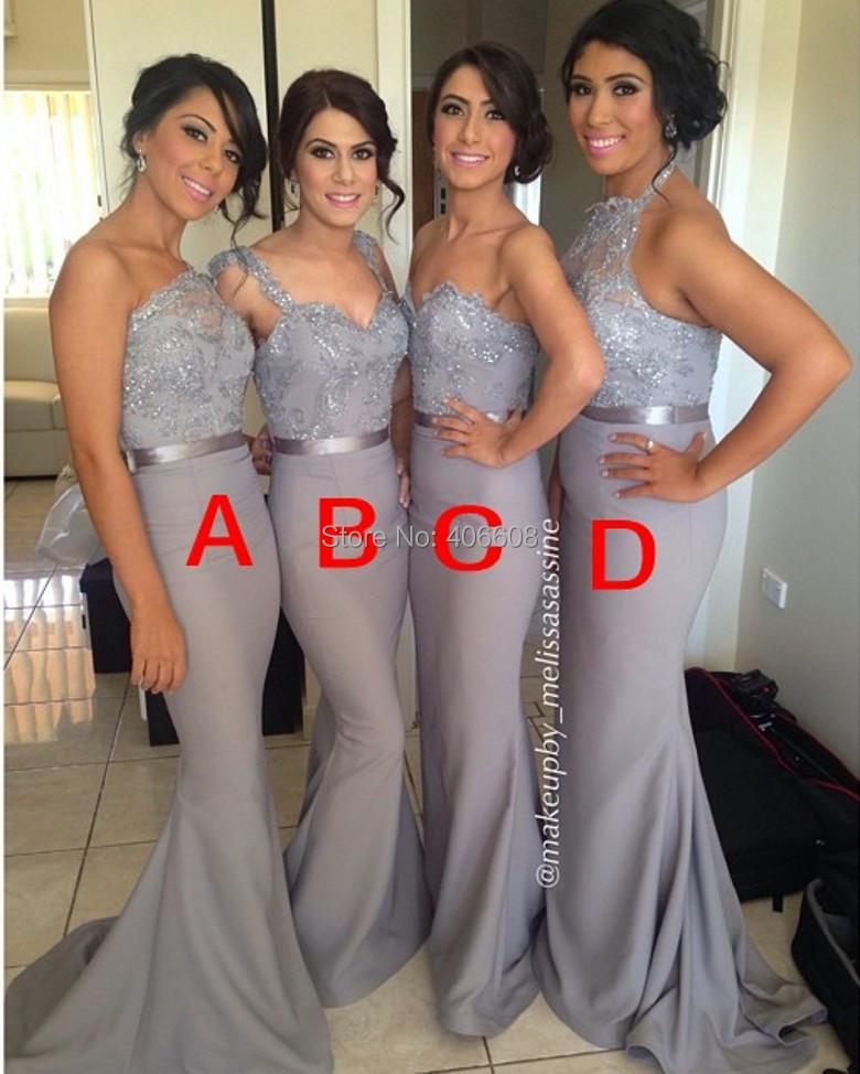 2016 custom made elegant mermaid bridesmaid dresses silver for Made of honor wedding dress