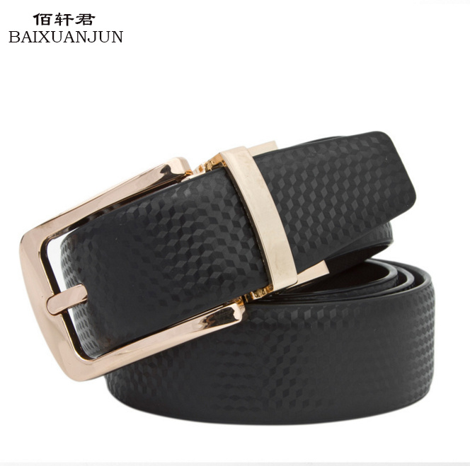 [BAIXUANJUN]2016 new men's pin buckle belt genuine leather belt pure leather belt tide Business rotation jeans brand with belt(China (Mainland))