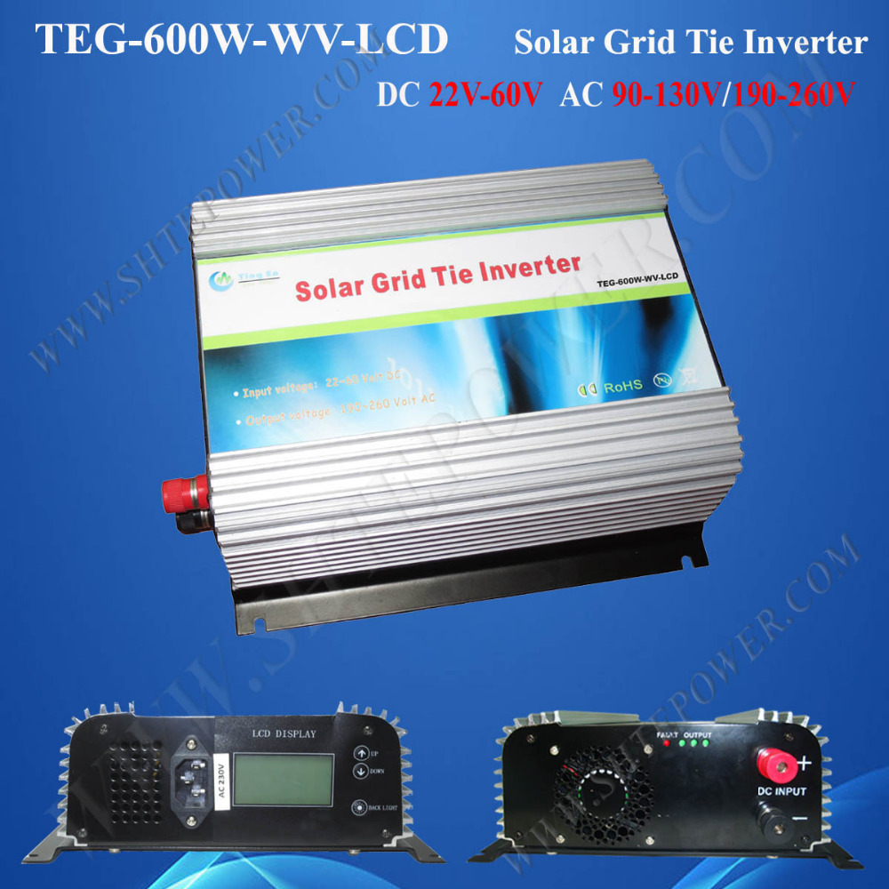 600 watt grid tie inverter 240v,best grid tie solar inverter, 48v dc to 220v ac solar grid converter with LCD(China (Mainland))