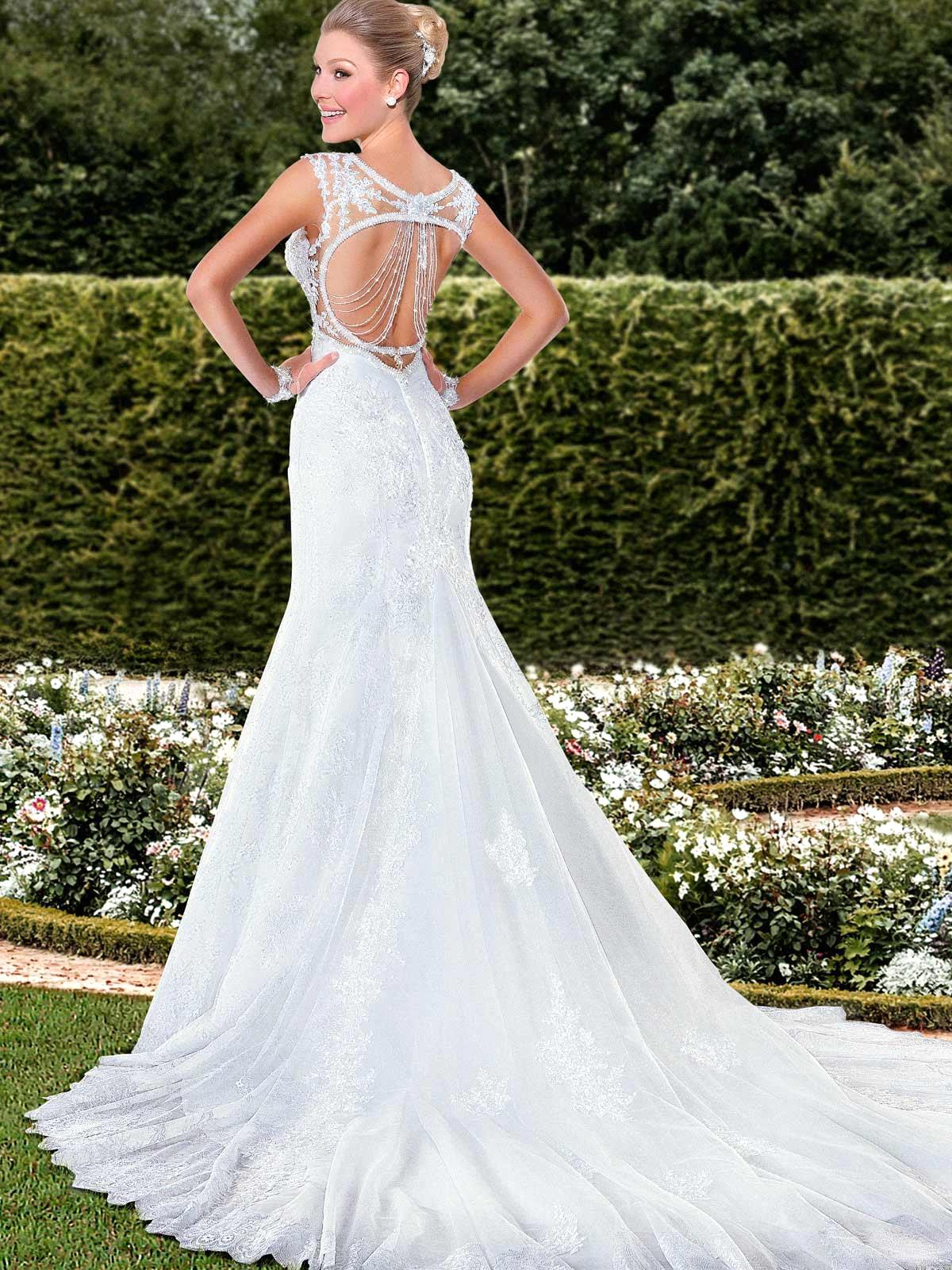Sereia 2016 Sexy Backless sirène robes De mariée élégante dentelle ...