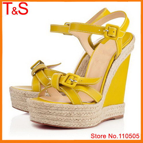 Hot Sale Brand Lady's Sandals Genuine Leather Ankle Strap Summer Platform Wedges Female Buckle Knot Weave Yellow Shoes L000B