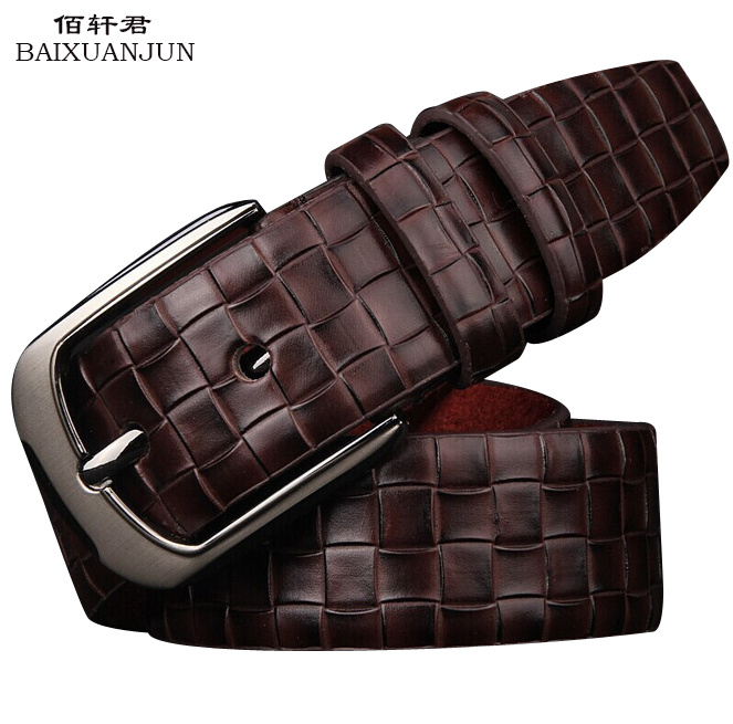 [BAIXUANJUN]2016 new high quality plaid men's leather belt men's fashion wild pin buckle belt jeans belt brand belt(China (Mainland))