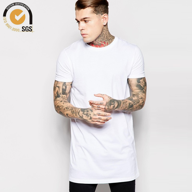Mens 100 cotton long t shirt short sleeve blank t shirt Mens long sleeve white t shirt
