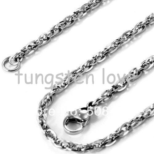 22 Inch New Arrivals Unisex Polished Stainless Steel Necklace Rolo Oval Cuban Link Chain Silver Necklace (with Gift Bag)(China (Mainland))