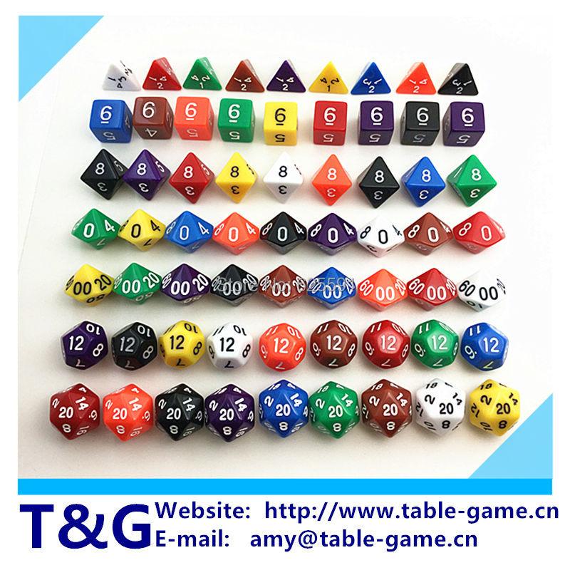 s новый красочный dice набор d4, d6, d8, d10, d10%, d12, d20 каждой кости случайных цвет 7 Дифференц цвет драконы и подземелья