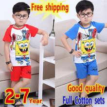 HOT Free shipping 2015 new fashion suit boys girls Summer Short sleeve sets 2-7years  t-shirt+pants suit  100% Cotton Child Gift(China (Mainland))