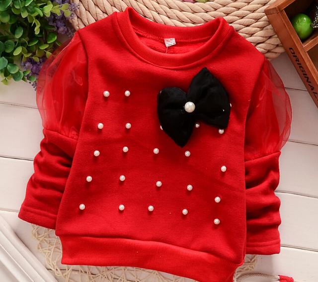 Теплый свитер с кружевным бантом из 100% хлопка для девочки 0-2 года.