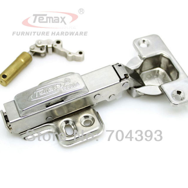 Free Shipping 2pcs SS304 Full Overlay Hydraulic Brass Buffer Hinges For Cainbets Kitchen Gate Hinge Soft Close