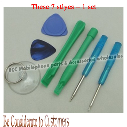 7 in 1 plastic Safe Triangular pry Crowbar Suction Cup screw repair Kit opener Tools Set for iPhone 4g mobile phone freeshipping(China (Mainland))