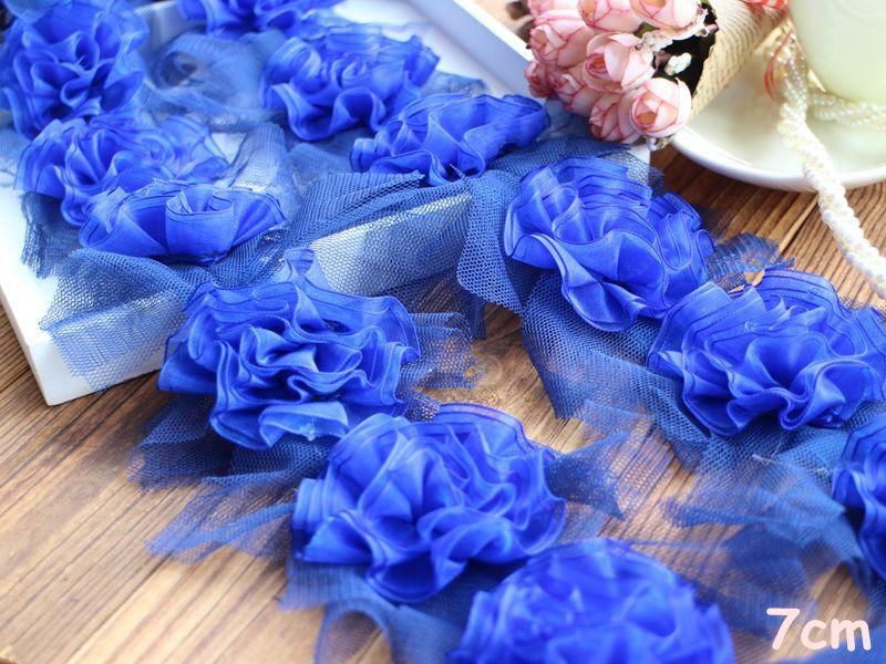 5 meters 7cm wide 3D blue chiffon flower lace trim ribbon free ship-SSHB(China (Mainland))