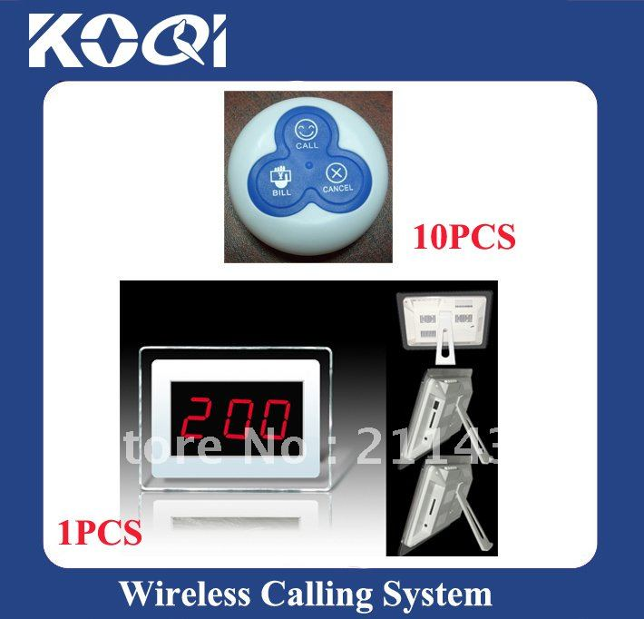 Wholesale Price Wireless Waiter Service Paging Call Calling Systems ; A set of 1pcs receiver and 10pcs O3 buttons(China (Mainland))