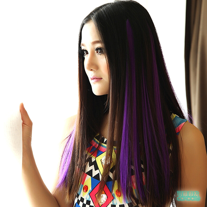 2015 16'' hair clips pink synthetic hair extensions haar extension khvosty iz volos hair tinsel purple blue ombre hair SP-015(China (Mainland))