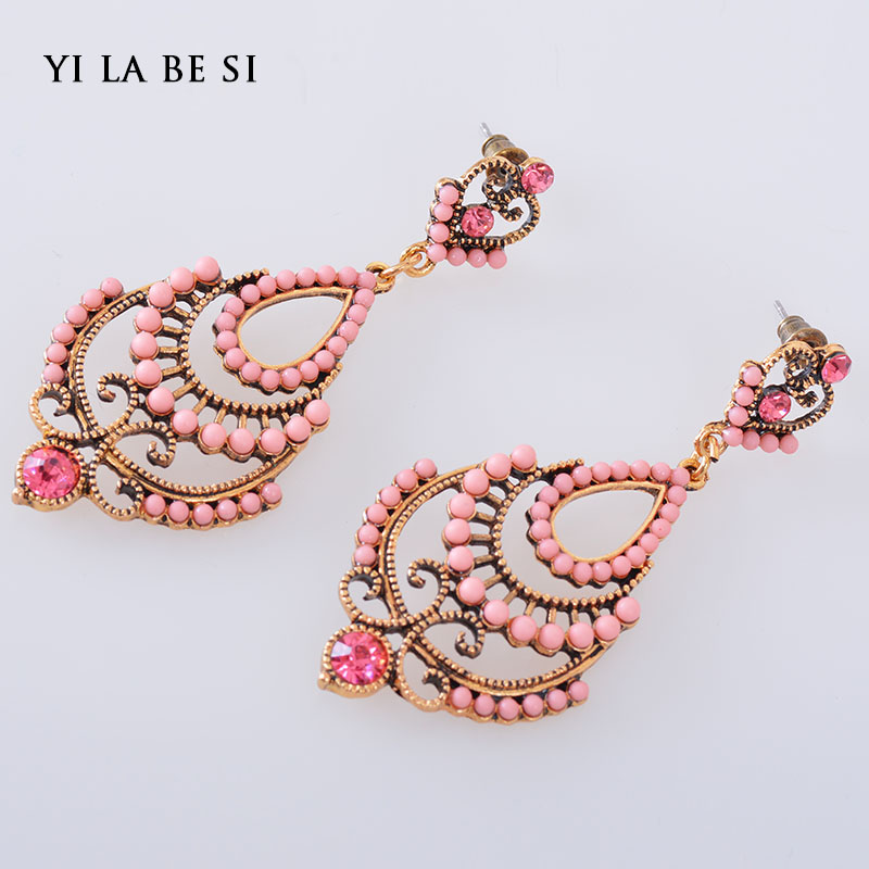 Ethnic Style Vintage Bohemian Colorful Beads Earring Created Gemstone Drop New Brincos Earring For Women Statement