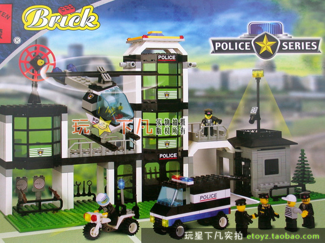 Police Station Enlighten 110 building blocks 3D DIY assembling educational toys Children birthday gift Free Shipping