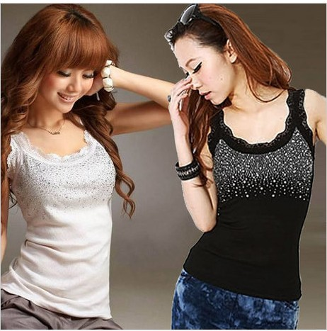 2013 new ladies cotton sleeveless T-shirt vest Fashion lace beaded Tank Tops women clothing 0715 - Loveliness Ladies store