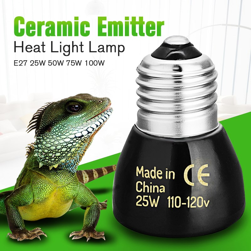 Mini Pet Lamp Infrared Ceramic Emitter Heating Light Bulb 25W 50W 75W 100W 45mm Black White For Reptile Pet Brooder 110V/220V(China (Mainland))