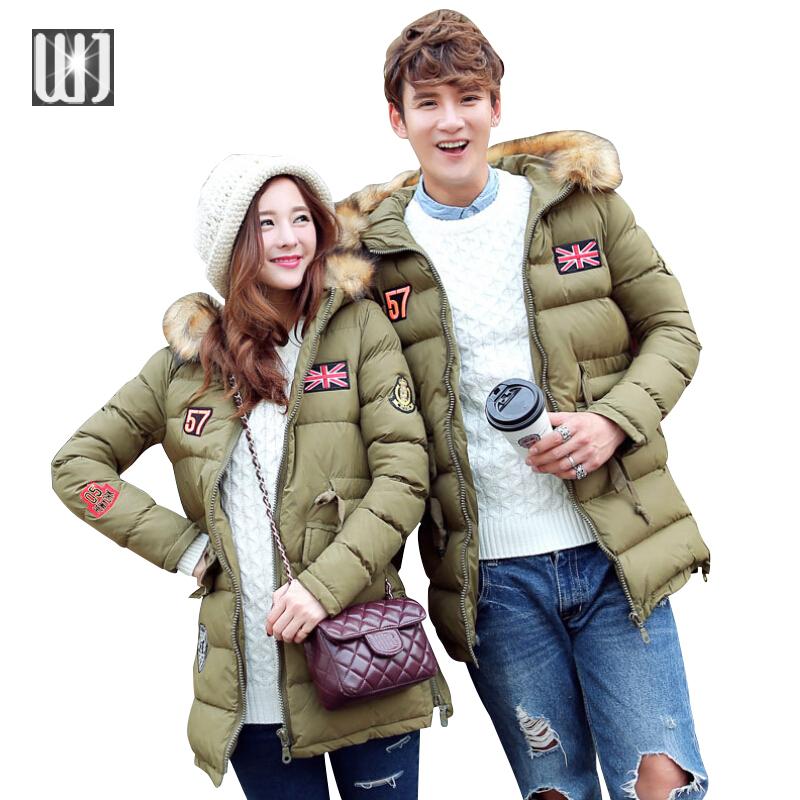2016 Winter Parkas Warm Long Winter Jackets Men/Women Lover Fur Hooded Winter Coat Men/Women Long Down Jackets Plus Size 3XL