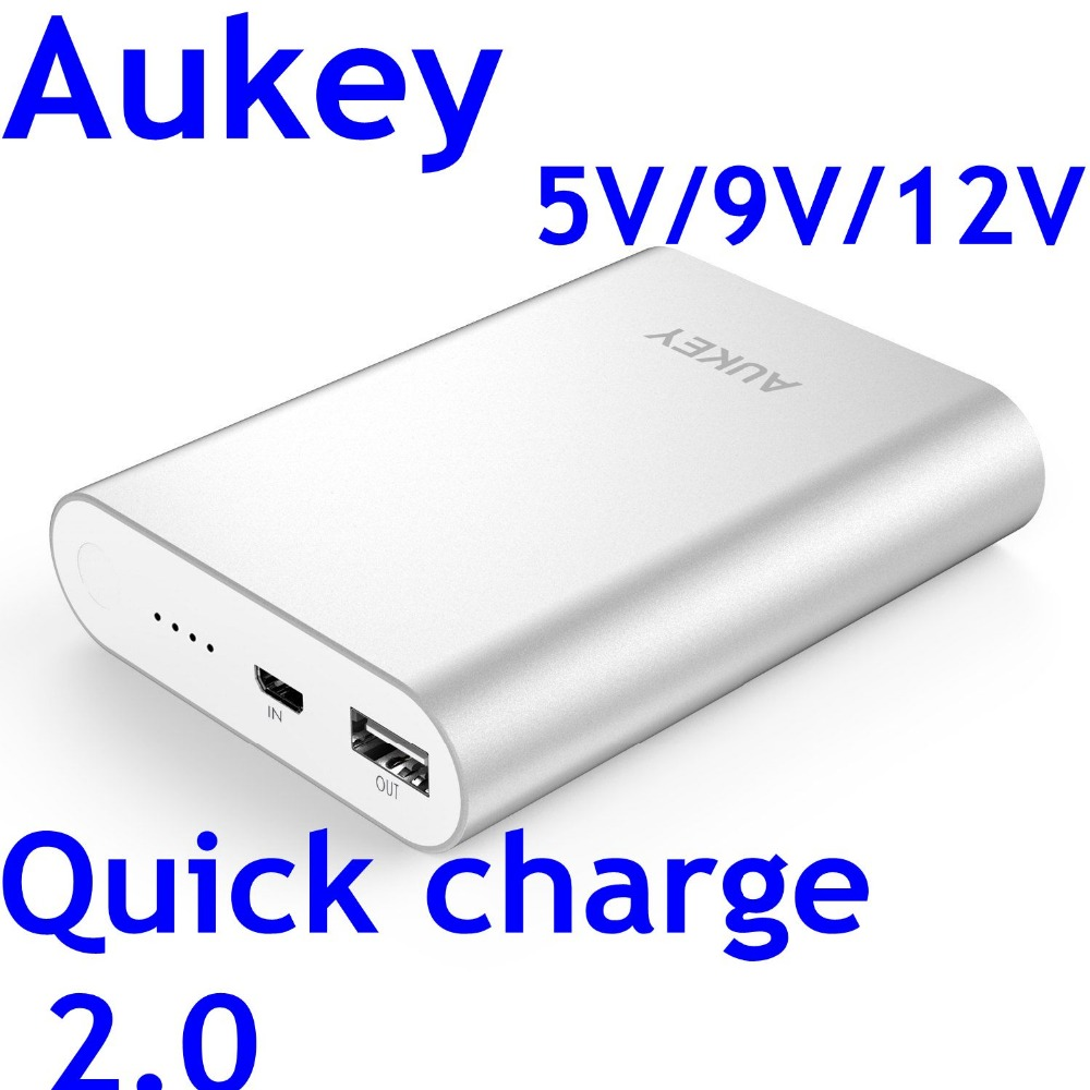 Aukey power bank quick charge 2.0 10400mah external battery for iphone 6 charging 3.8 times alloy shell 100% original Aukey