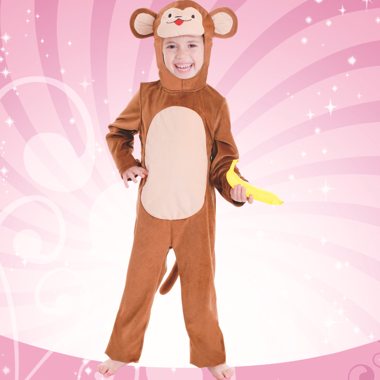 Plush Monkey - Kid's Animal Themed costume Birthday Funny Fancy Party Dress 3pcs Outfit Jumpsuit+Hood+Tail(China (Mainland))