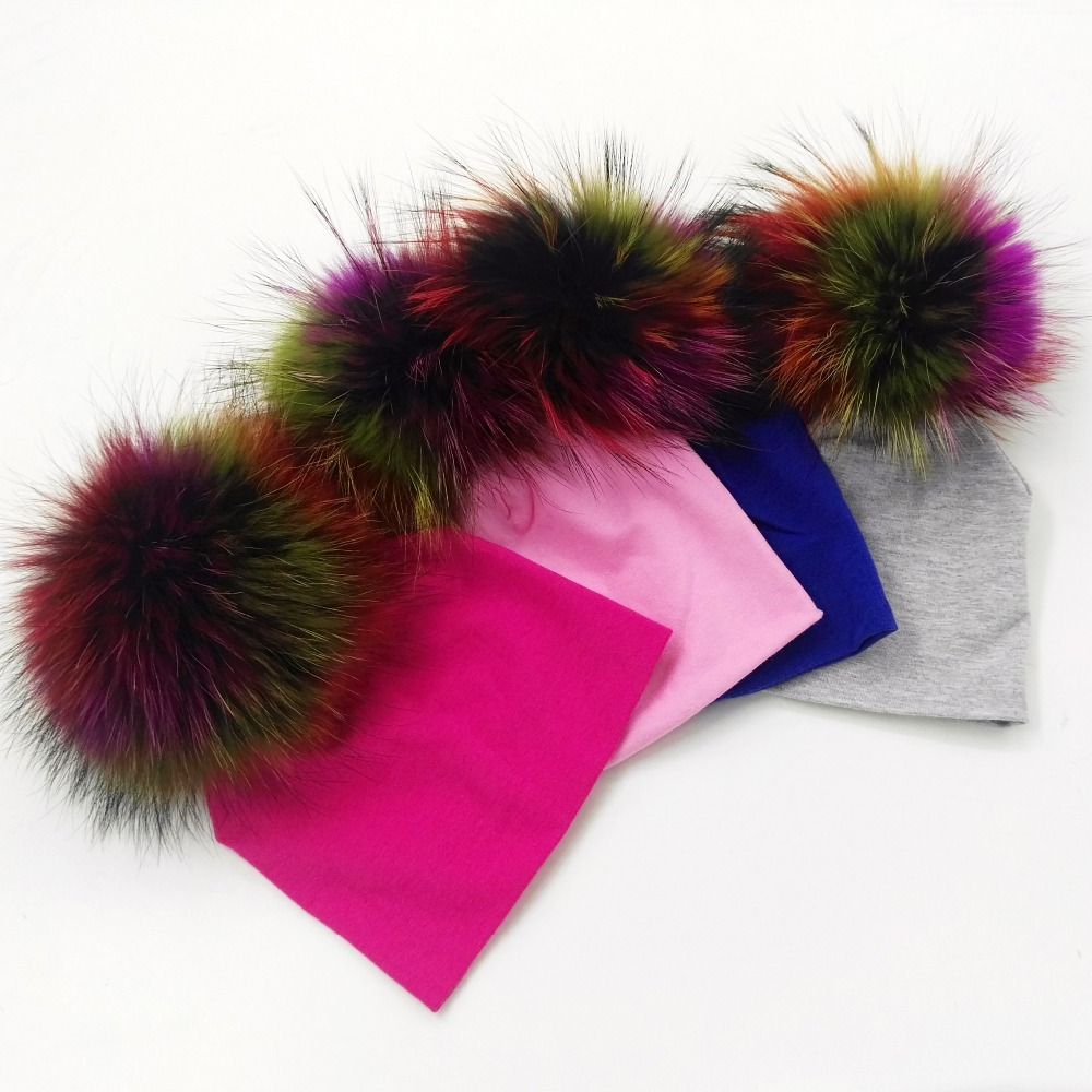 GZHilovingL-0-5month-Spring-INS-New-Design-Cotton-Beanie-Real-Fur-Raccoon-Fox-Fur-Pompom-For