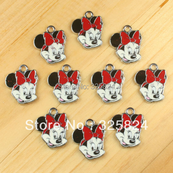 2Cute Minnie Mouse Red Bow Metal Zinc Alloy Enamel Charms Pendants Girl Jewelry Crafts Making Deco DIY - The store