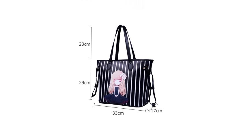 New Fashion Print Tote Bag Women Cute Cartoon Figure Large Hand Bag Side Straps Simple Bag Designer Ladies PU Shoulder Bag
