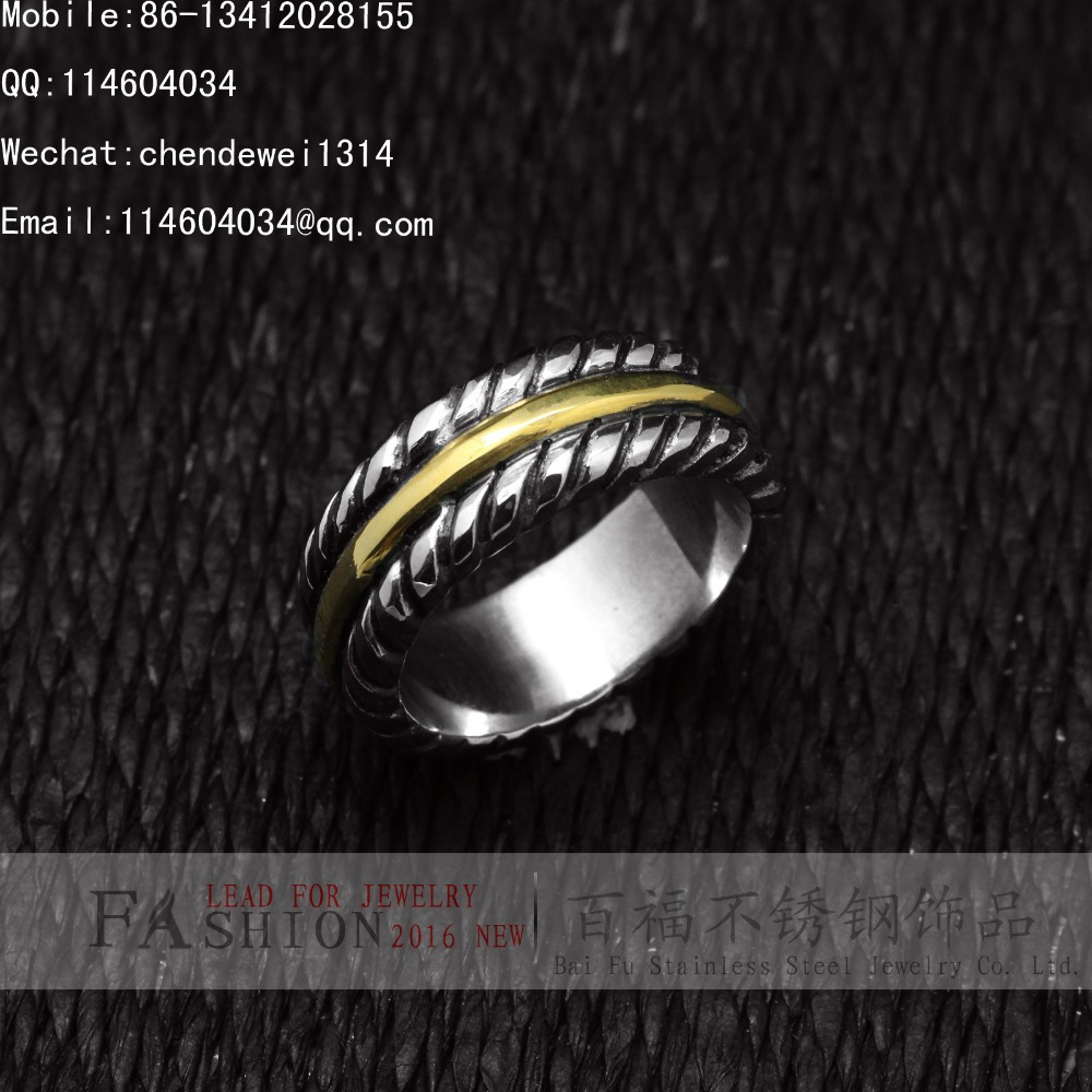 BAIFU JEWELRY Wholesale Party Classic Luxurious Vintage 316L Stainless Steel Gold IP Stripe Rope Cast Band Ring(China (Mainland))