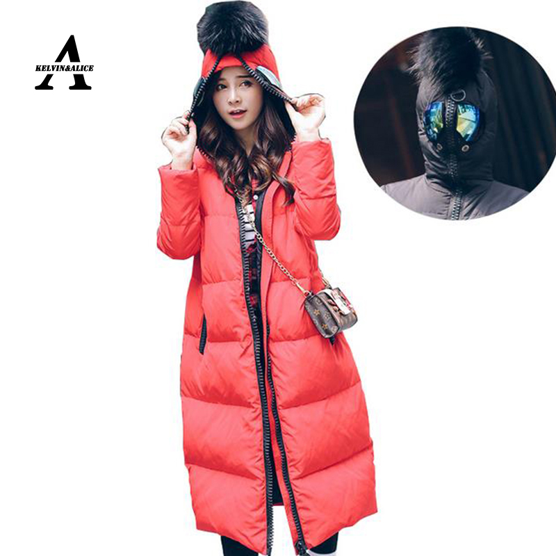Plus Size 5XL 6XL Winter Jacket Women Manteau Hiver Femme 2015 Fur Ball Anti-wolf Glasses Hooded Duck Long Monler