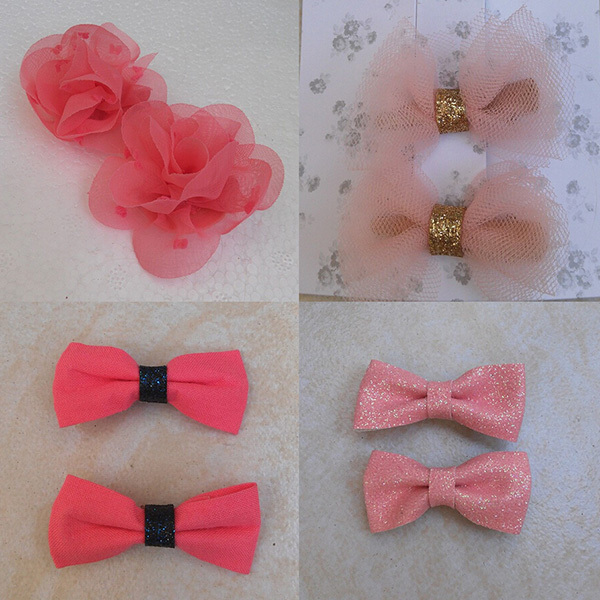 1 Assorted Baby Girls Hair Clips Embroidery Chiffon Flowers Alligator Women Bows Accessories - SUSAN BEAUTY store
