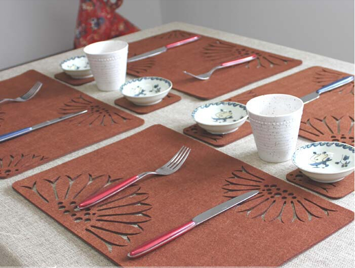 Europe BROWN hollow out felt table oranmet soft place mat table dinner mat &coaster 12pcs/lot wholesale #RN294(China (Mainland))