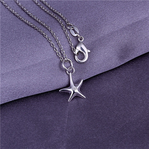 5stering silver plated pendant necklace WITHOUT CHAIN 925 stamped small starfish P056 - Tracy Jewelry store