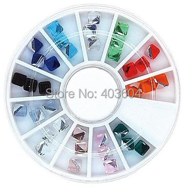 Mix Color 4mm Square Cube Crystal Rhinestones Wheel Nail Art Decoration 32#(China (Mainland))