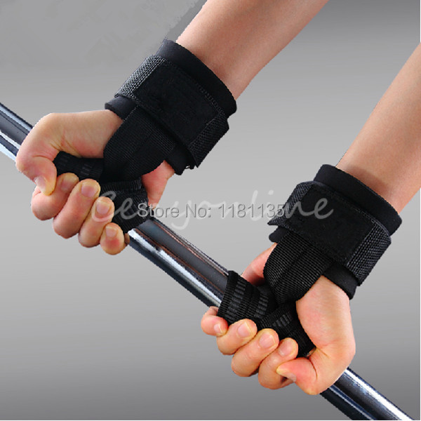 1Pair Gym Training Weight Lifting Gloves Bar Grip Barbell Straps Wraps Hand with Wrist Support for Protection Free Shipping(China (Mainland))