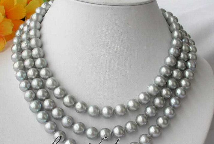 fast AA 3row 11mm round gray freshwater pearl necklace Z2832<br><br>Aliexpress