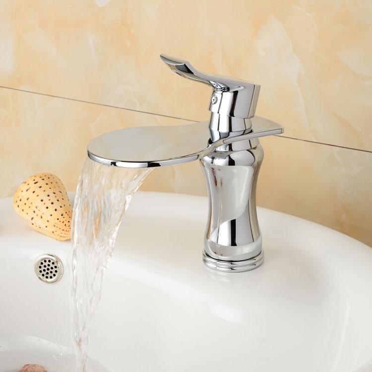 Фотография Chrome Brass Free Shipping Single Lever Brass Basin Vanity Sink Faucet Deck Mount One Hole Wwashbasin Mixer Taps