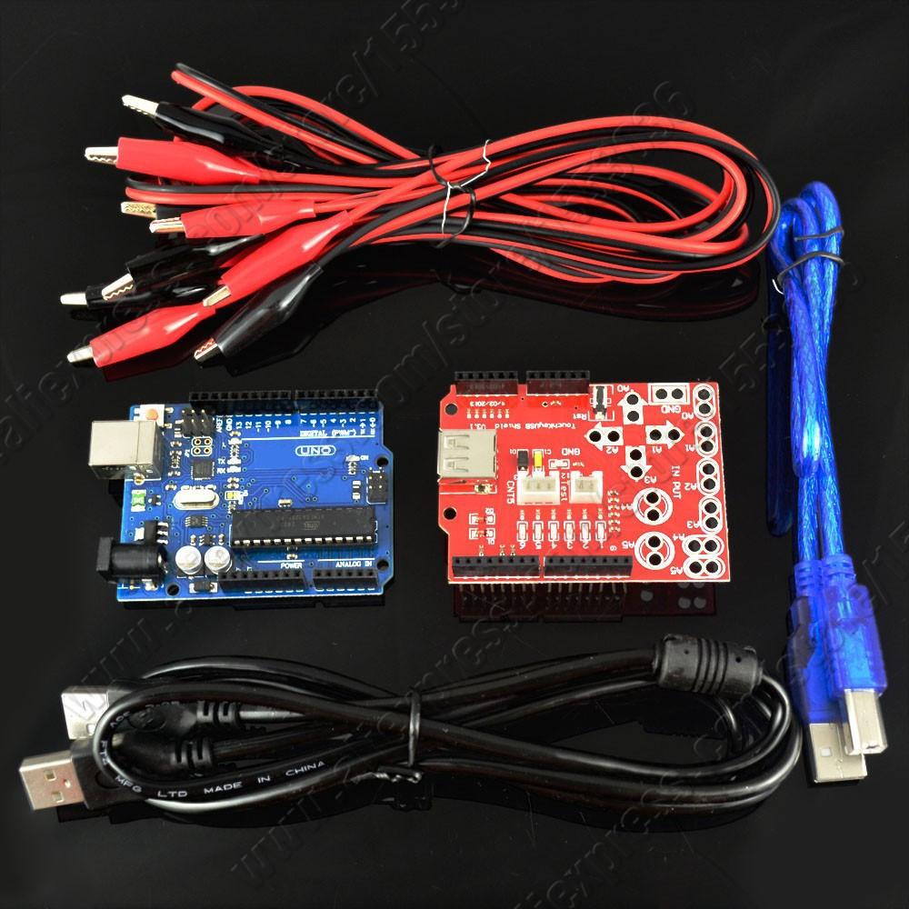 1set New Makey analog touch keyboard kit uno r3 board + key USB shield crocodile clip cable Arduino