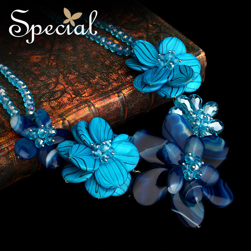 Special New Fashion Natural Agate Stone Necklaces Crystal Blue Flowers Pendants Jewelry For Women Free Shipping XL141149(China (Mainland))
