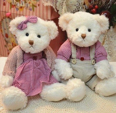 Couple Teddy doll 2pcs / lot 29cm(11.42 )sitting head the relevant section of push toy dolls best gift for child birthday LH107<br><br>Aliexpress