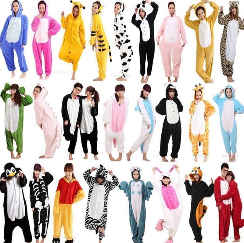 Hot Unisex Adult Flannel Pajamas Cosplay Cute Cartoon Animal Winter Onesies Christmas Halloween Pajama Pyjama Sets Pikachu Panda(China (Mainland))
