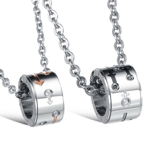 Fashion jewelry Valentine's Day Forever Love Rose gold Silver round Circle Crystal Stainless Steel Couple Pendant Chain Necklace(China (Mainland))