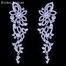 Clear Luxury Jewelry Crystal Leaf Long Wedding Earrings for Women EH435(China (Mainland))