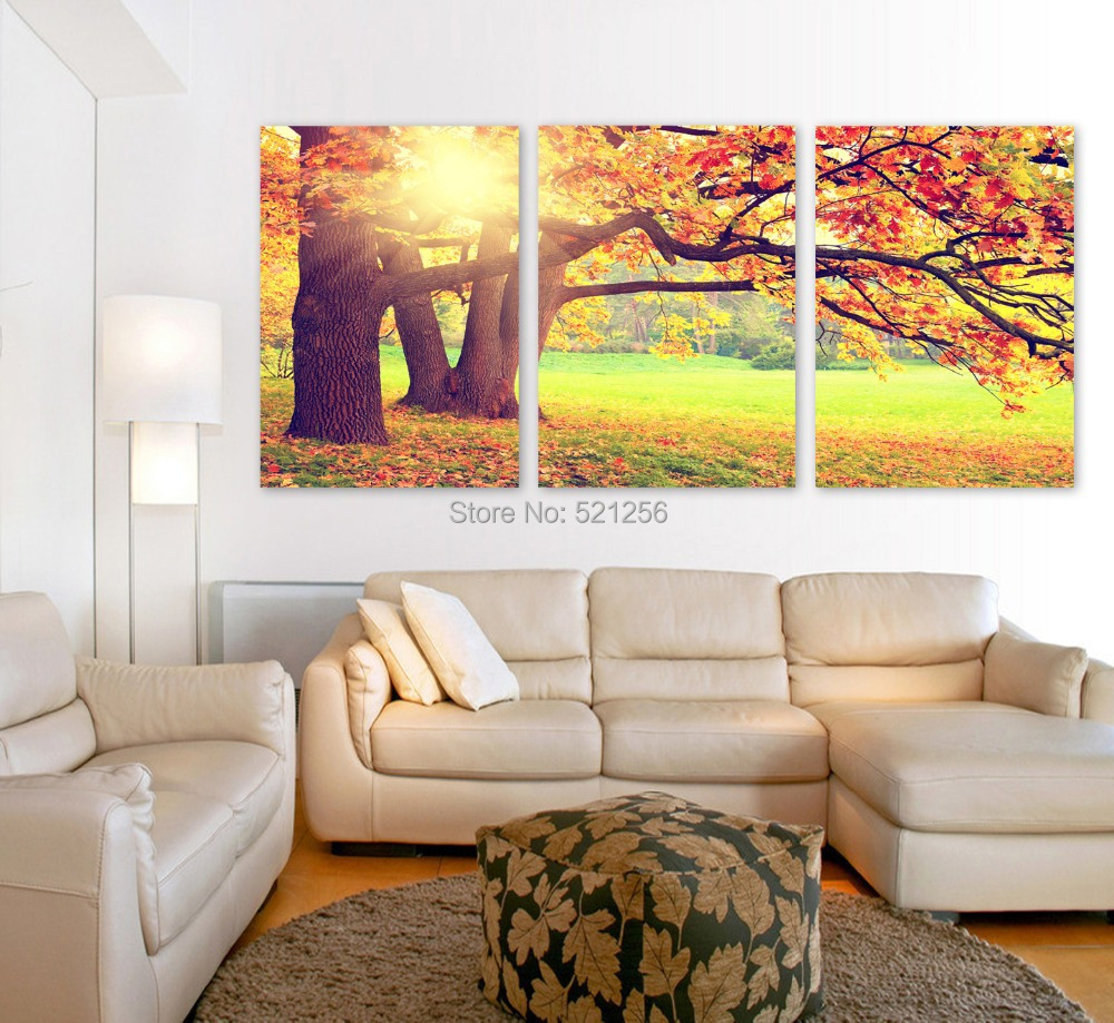 Modern Wall Art Home Decoration Printed Oil Painting Pictures No Frame Canvas Prints 3 Piece Autumn Big Tree Scenery