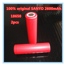 2PCS/LOT New 100% Original Sanyo 18650 2600mAh Li-ion Rechargeable Battery The Flashlight Btteries+Free shopping