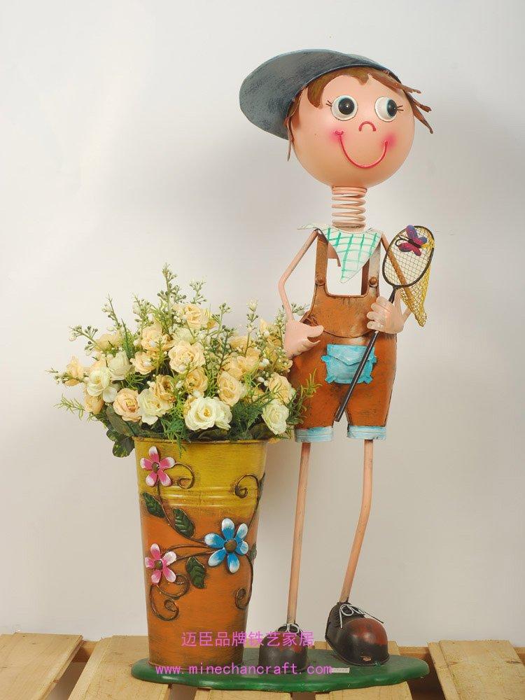Metal Garden Decoration Flower Pot Metal Boy Planter Free